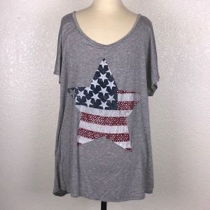 Agenda Brand - America Flag Star T-shirt ((XL))